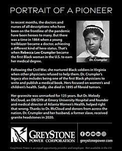 Print ad of Dr. Rebecca Lee Crumpler